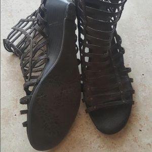 Gladiator Sandals W/ Small Wedge & Embellishments